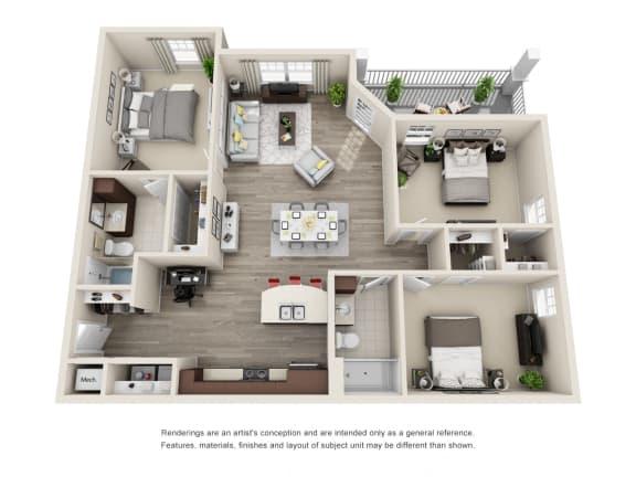 C1 Unit 3BR Floor Plan for Vintage Blackman Apartments in Murfeesboro, Tennessee