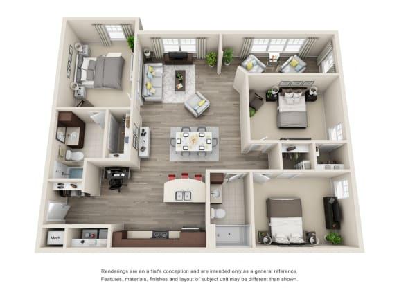 C2 Unit 3BR Floor Plan for Vintage Blackman Apartments in Murfeesboro, Tennessee