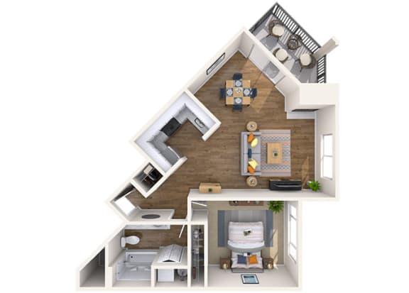 Floor Plan  1x1 Large