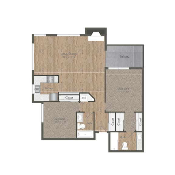2 Bedroom 2 Bath Large Floorplan