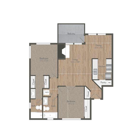 Two Bedroom 2 Bath Floor plan