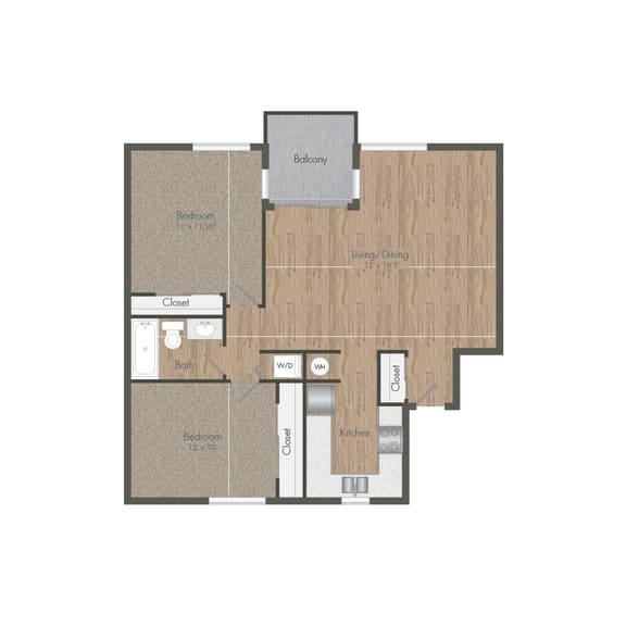 Two Bedroom 1 Bath Floor plan