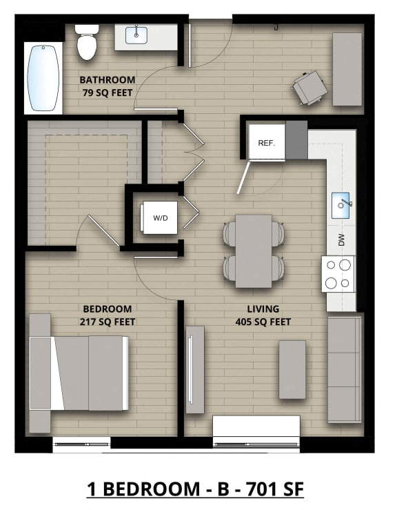 Floorplan B 1x1