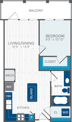 1 Bed 1 Bath A1 Floor Plan at Azul Baldwin Park, Orlando, FL
