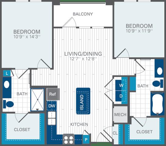 2 Bed 2 Bath B1 Floor Plan at Azul Baldwin Park, Florida, 32814