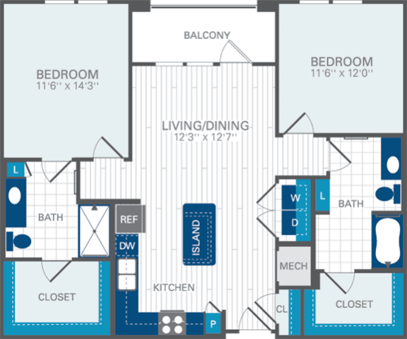 2 Bed 2 Bath B2 Floor Plan at Azul Baldwin Park, Orlando, Florida