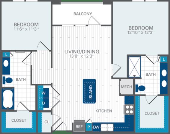 2 Bed 2 Bath B3 Floor Plan at Azul Baldwin Park, FL, 32814