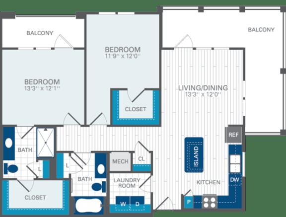 2 Bed 2 Bath B4 Floor Plan at Azul Baldwin Park, 4460 Lower Park Road, FL