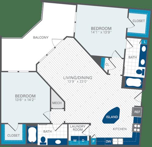 2 Bed 2 Bath B6 Floor Plan at Azul Baldwin Park, Orlando, FL