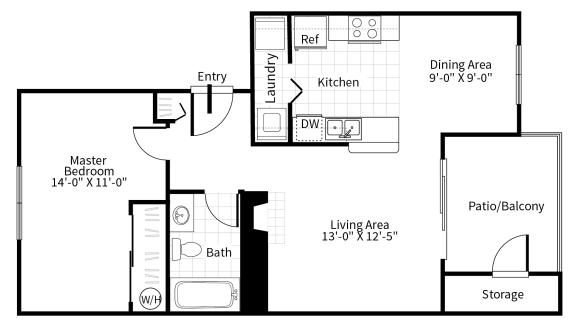 Floor Plan  1 bedroom 1 bathroom floor plan at Grammercy apartments in Renton, Washington.
