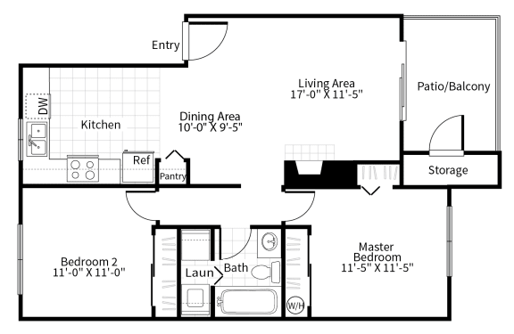 Floor Plan  2 bedroom 1 bathroom floor plan at Grammercy apartments in Renton, Washington.