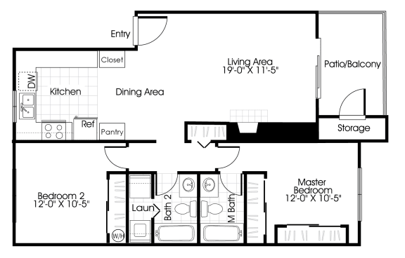Floor Plan  2 bedroom 2 bathroom floor plan at Grammercy apartments in Renton, Washington.