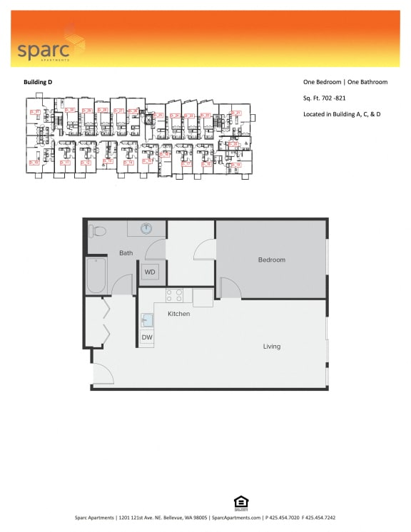 Sparc Apartments 1x1 Building A and D Floor Plan