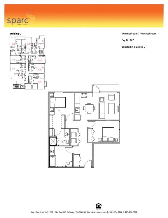 Sparc Apartments 2x2 Floor Plan