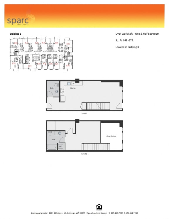 Sparc Apartments Live and Work Loft Floor Plan