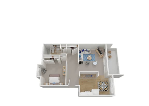 One Bed One Bath Floor Plan at Carriage House, California, 94536