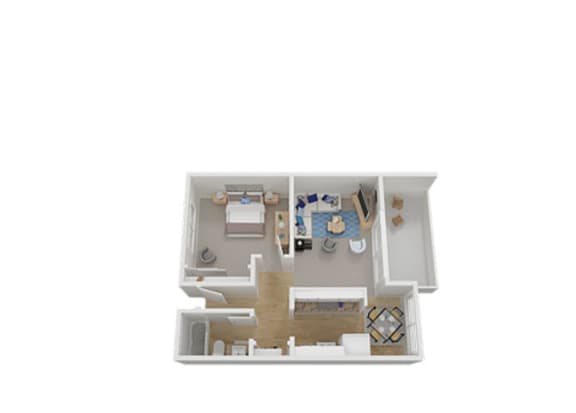 One Bed One Bath Floor Plan at Carriage House, Fremont, CA, 94536