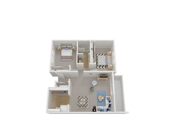 Two Bed One Bath Floor Plan at Carriage House, Fremont, 94536