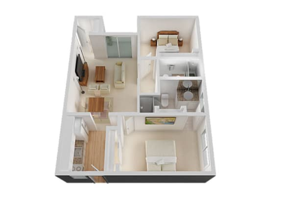 Two Bed Two Bath Floor Plan at The Glens, California