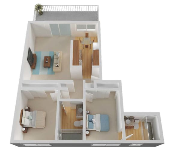 Two Bed Two Bath Floor Plan at Valley West, California, 95122