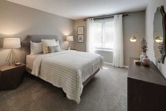 Spacious Bedroom With Comfortable Bed at Valley Lo Towers, Glenview, IL, 60025