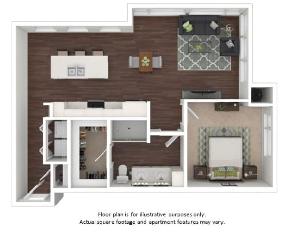 Floor Plan  A5a 1 Bedroom 1 Bathroom Floor Plan at Centric LoHi by Windsor, Denver