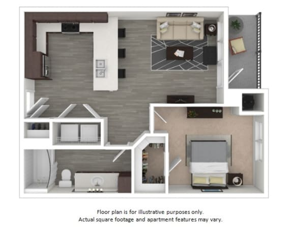 Floor Plan  A1 1 Bedroom 1 Bathroom Floor Plan at Centric LoHi by Windsor, Denver, 80211