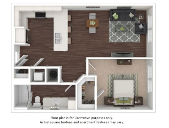 Floor Plan  A1a 1 Bedroom 1 Bathroom Floor Plan at Centric LoHi by Windsor, Denver, CO