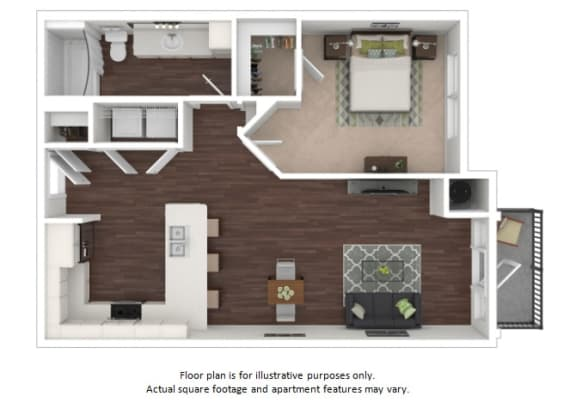 Floor Plan  A2a 1 Bedroom 1 Bathroom Floor Plan at Centric LoHi by Windsor, Denver, Colorado