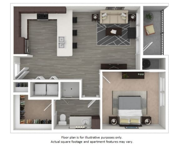 Floor Plan  A3 1 Bedroom 1 Bathroom Floor Plan at Centric LoHi by Windsor, Colorado