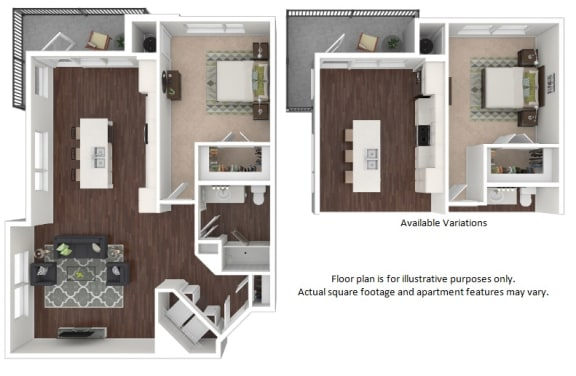 Floor Plan  A4 1 Bedroom 1 Bathroom Floor Plan at Centric LoHi by Windsor, Denver, CO