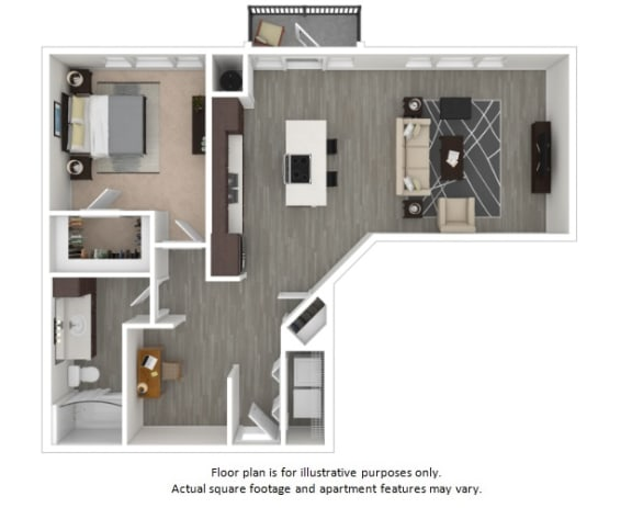 Floor Plan  A6 1 Bedroom 1 Bathroom Floor Plan at Centric LoHi by Windsor, Colorado
