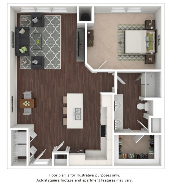 Floor Plan  A7 1 Bedroom 1 Bathroom Floor Plan at Centric LoHi by Windsor, Denver