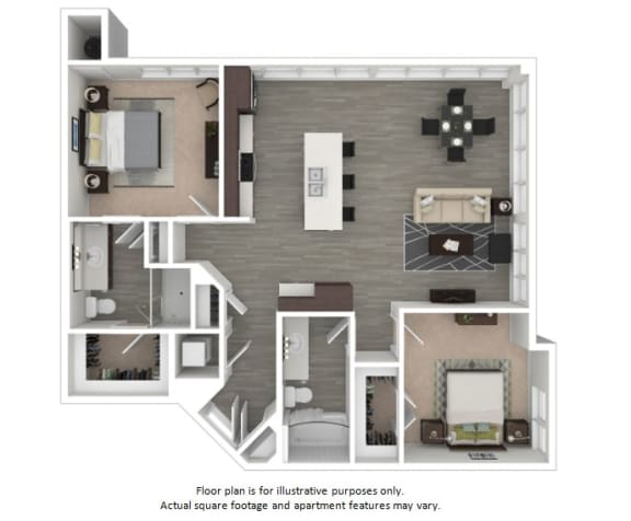 Floor Plan  B1 2 Bedrooms 2 Bathrooms Floor Plan at Centric LoHi by Windsor, Denver, 80211