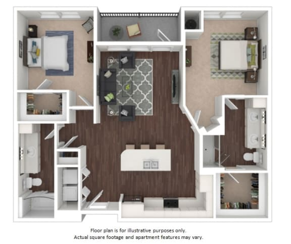 Floor Plan  B2 2 Bedroom 2 Bathroom Floor Plan at Centric LoHi by Windsor, Denver, CO
