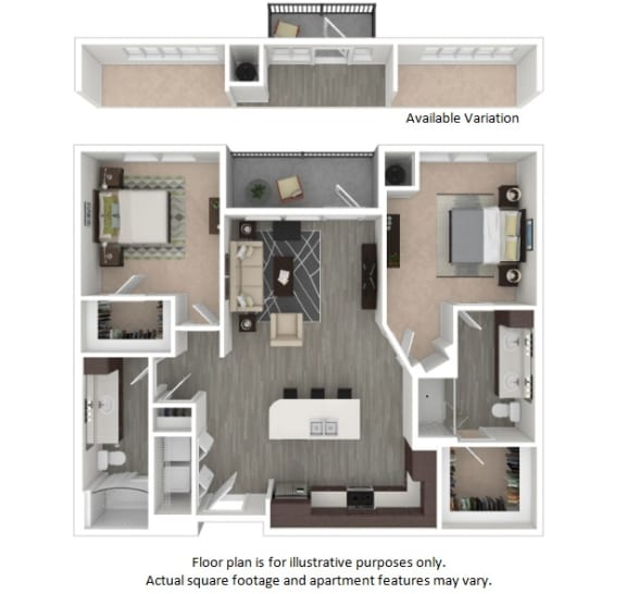 Floor Plan  B2a 2 Bedrooms 2 Bathrooms Floor Plan at Centric LoHi by Windsor, Colorado, 80211