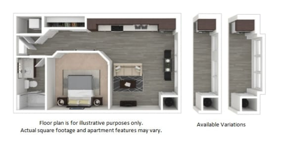 Floor Plan  E1 1 Bedroom 1 Bathroom Floor Plan at Centric LoHi by Windsor, Colorado, 80211