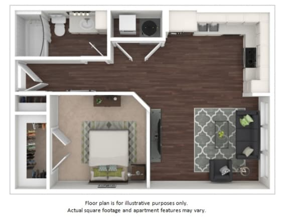 Floor Plan  E2 1 Bedroom 1 Bathroom Floor Plan at Centric LoHi by Windsor, Colorado, 80211