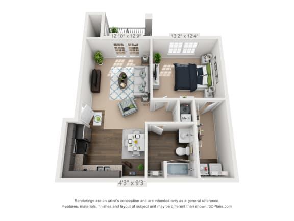Ardmore at Alcove One Bedroom, One Bathroom Floor Plan