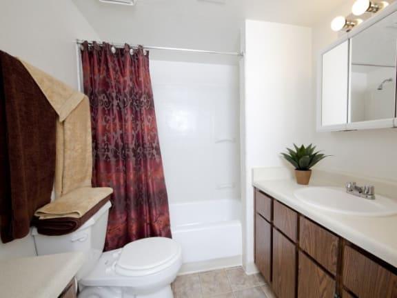 Bathroom With Bathroom Vanity at Casa Bella Apartments in Tucson, AZ