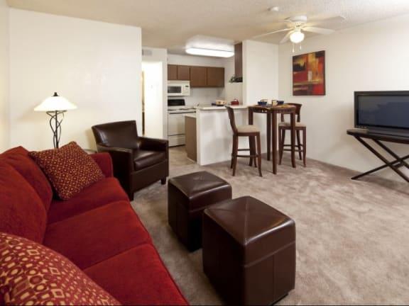 Dining Area & Living Room at Casa Bella Apartments in Tucson, AZ