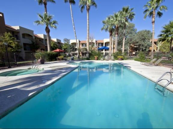 Pool, Pool Patio & Spa at Casa Bella Apartments in Tucson, AZ