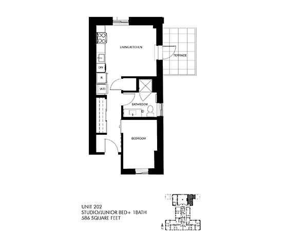 586 SQFT Junior Floor Plan at Park Heights by the Lake Apartments, Chicago, IL