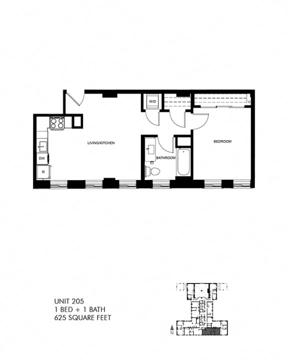 625 SQFT 1 Bed 1 Bath Floor Plan at Park Heights by the Lake Apartments, Chicago, IL, 60649