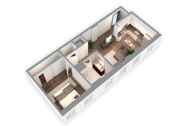 Floor Plan  644 SQFT 1 Bed 1 Bath 3D View Floor Plan at Park Heights by the Lake Apartments, Chicago, IL