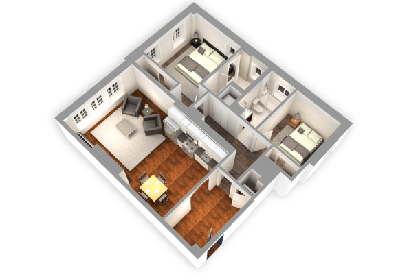Floor Plan  1068 SQFT 2 Bed 2 Bath 3D View at Park Heights by the Lake Apartments, Chicago