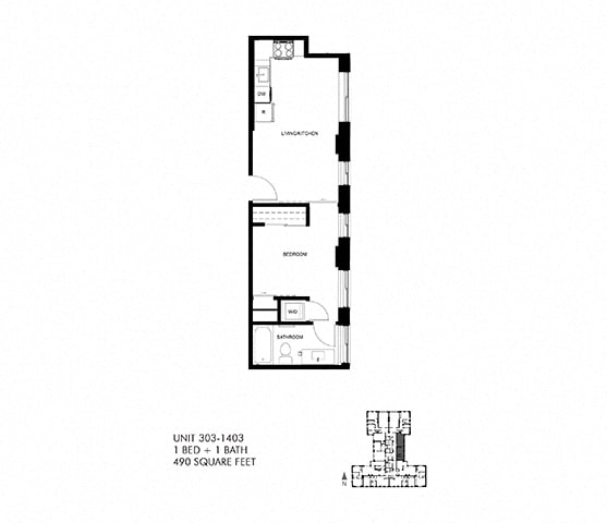 490 SQFT 1 Bed 1 Bath Floor Plan at Park Heights by the Lake Apartments, Chicago, IL, 60649