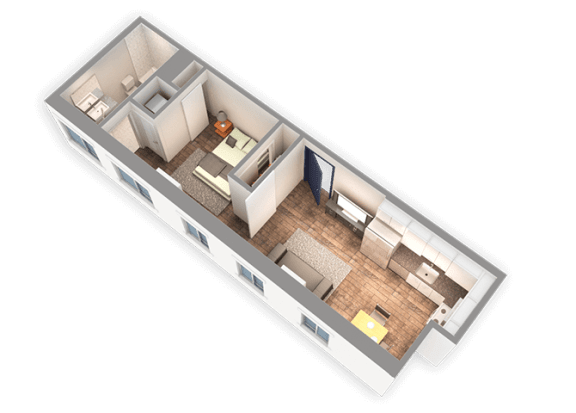 Floor Plan  490 SQFT 1 Bed 1 Bath 3D View Floor Plan at Park Heights by the Lake Apartments, Chicago, 60649