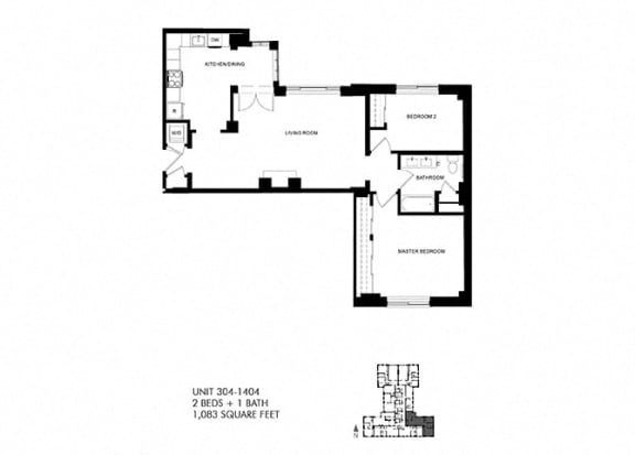 1083 SQFT 2 Bed 1 Bath Floor Plan at Park Heights by the Lake Apartments, Illinois, 60649