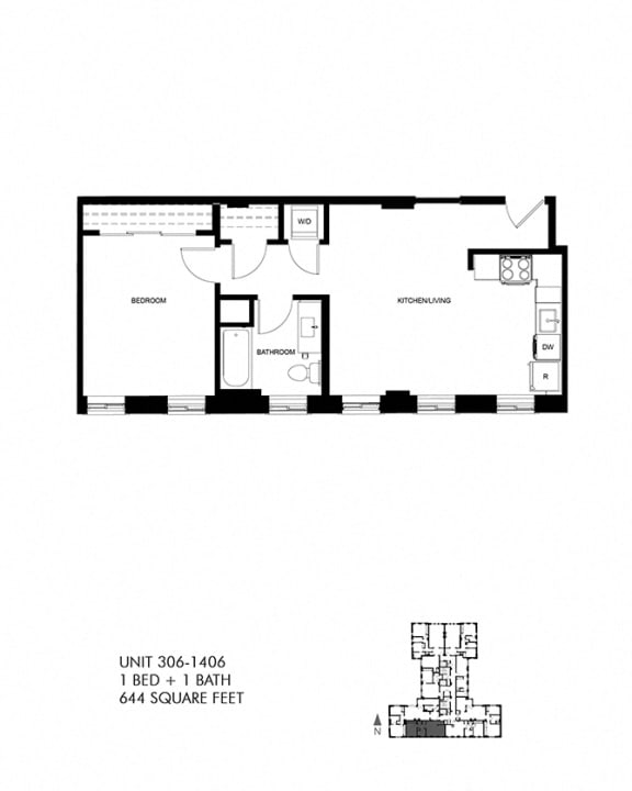 644 SQFT 1 Bed 1 Bath Floor Plan Image at Park Heights by the Lake Apartments, Illinois, 60649